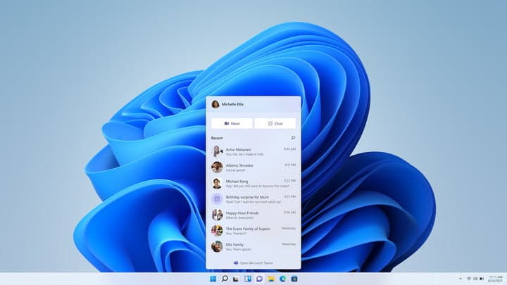 Microsoft Teams' new Chat experience on Windows 11.
