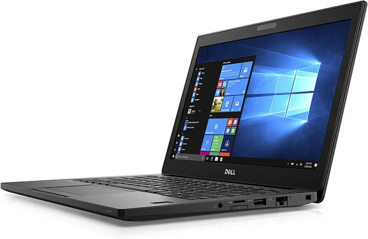 Dell Latitude 7280 laptop open with angled view