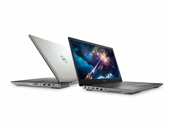 Dell G5 15 SE Gaming Laptop open with game onscreen.