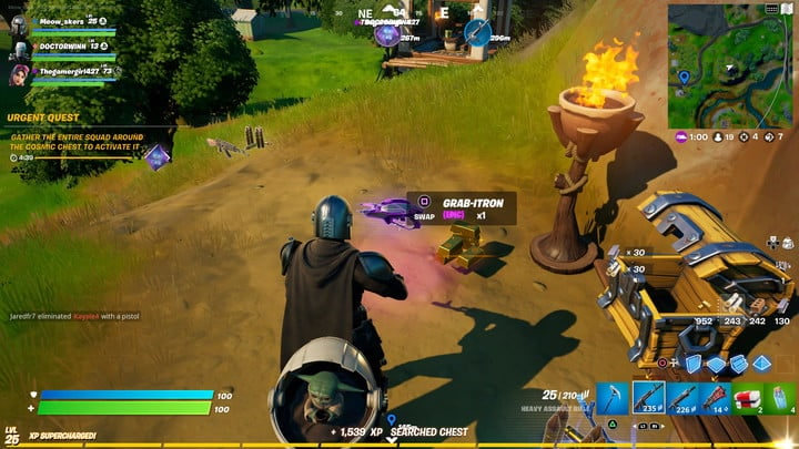 Grab-itron spawning from chest in Fortnite.