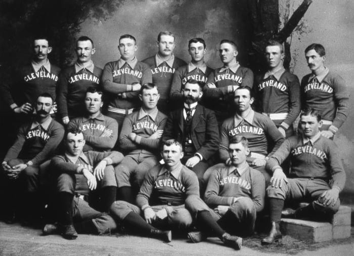 CLEVELAND - 1890. The Cleveland Spiders Base Ball Club poses for a team portrait in 1890. Cy Young is pictured, middle row, third from left. (Photo by Mark Rucker / Transcendental Graphics, Getty Images)