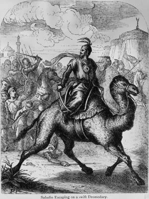 Saladin Around 1170, Sultan of Egypt and Syria, Malek Nasser Yusuf Saladin (1138 - 1193), (Salh al-Din) escaping from a battle on the back of a camel.