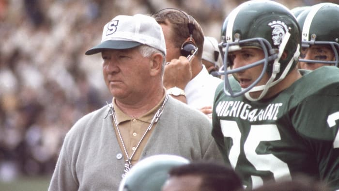 In the mid-1960s, Michigan State's Duffy Daugherty recruited black players and won two national titles.