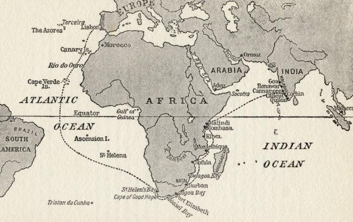 Map illustrating Vasco Da Gama's first trip to India in 1497.
