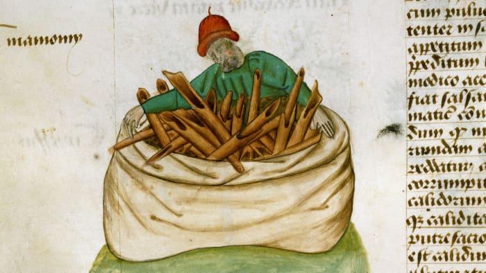 Cinnamon seller, miniature from Tractatus de herbis, 15th century France.