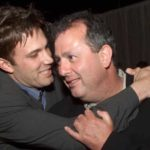 Ben Affleck and director Roger Michell at the premiere of Changing Lanes in Los Angeles, 2002