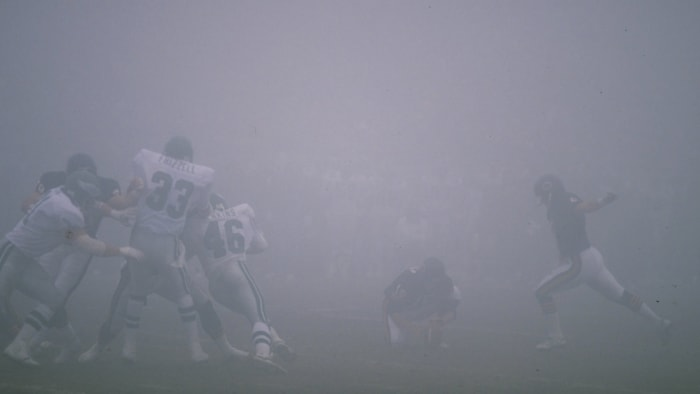 """""""I've never even driven a car in something like this before,"""" Bears kicker Kevin Butler (right) said after the """"Bowl of fog."""""""