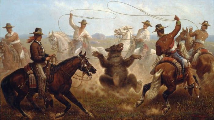 "Spanish vaqueros lassoing a bear; ""Cowboys lassoing a bear,"" painted by James Walker, c. 1877."