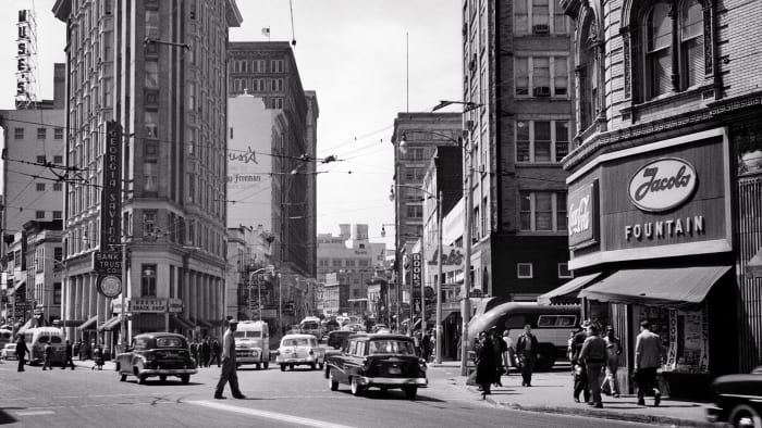 The intersection of Peachtree and Broad Streets, Atlanta Georgia, circa 1950.