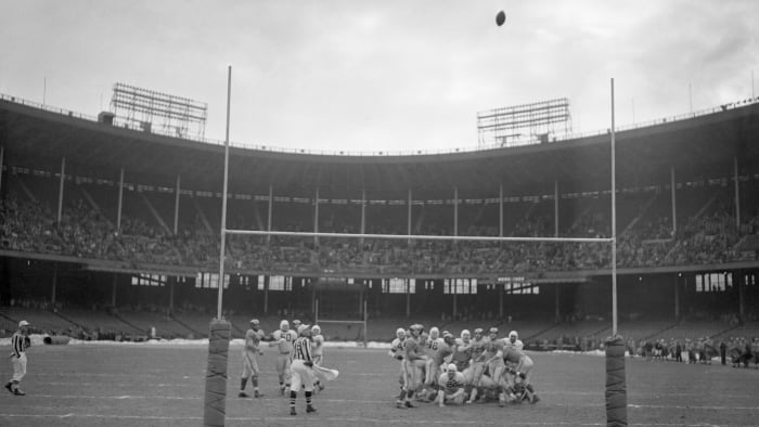 Lou Groza's winning placement crosses the studs in the 1950 NFL Championship game.