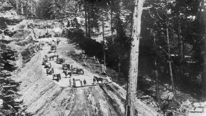 Chinese workers build a trench and bank at Sailor's Spur in the Sierra foothills for the Central Pacific Railroad in California, 1866.