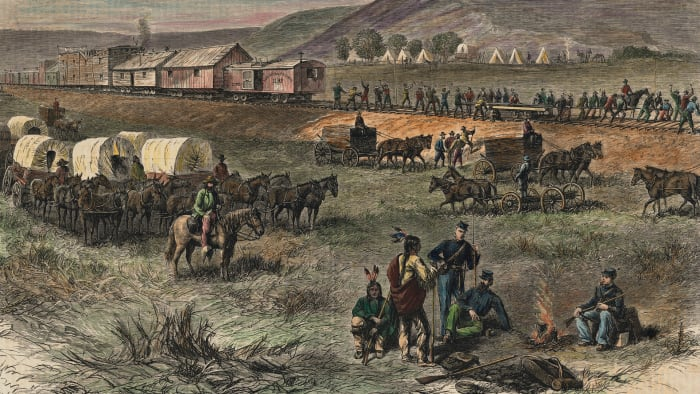 Railway construction on the Great Plains