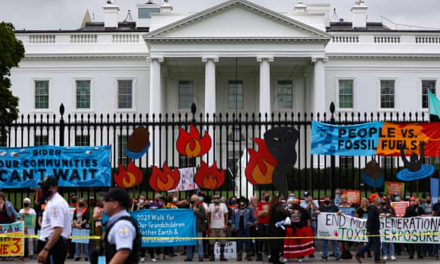Native and other environmentalist groups gather outside the White House last week urging Joe Biden to reject fossil fuel projects and declare a climate emergency.