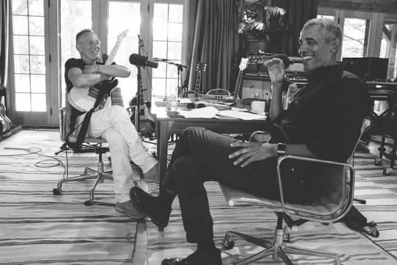 Bruce Springsteen and Barack Obama record their podcast.