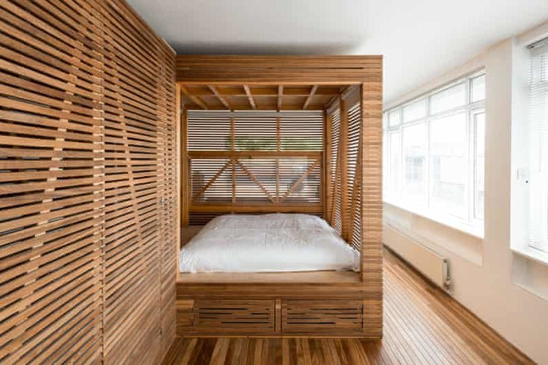 Wooden slatted bed area