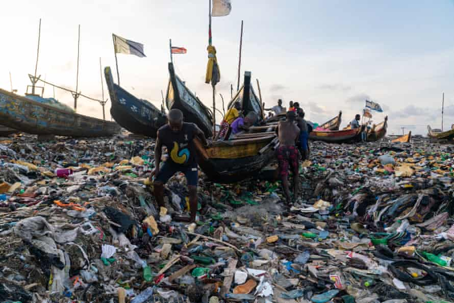 The coastal fishing community of Jamestown in Accra, Ghana, is overwhelmed by plastic and clothes waste.