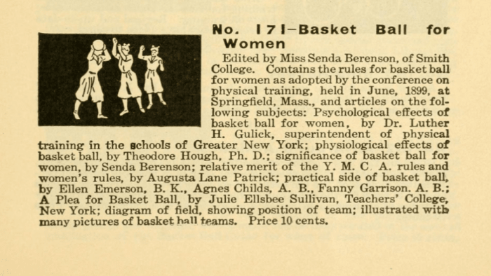 Senda Berenson edited a guide to women's basketball published by Spalding, a sporting goods company.